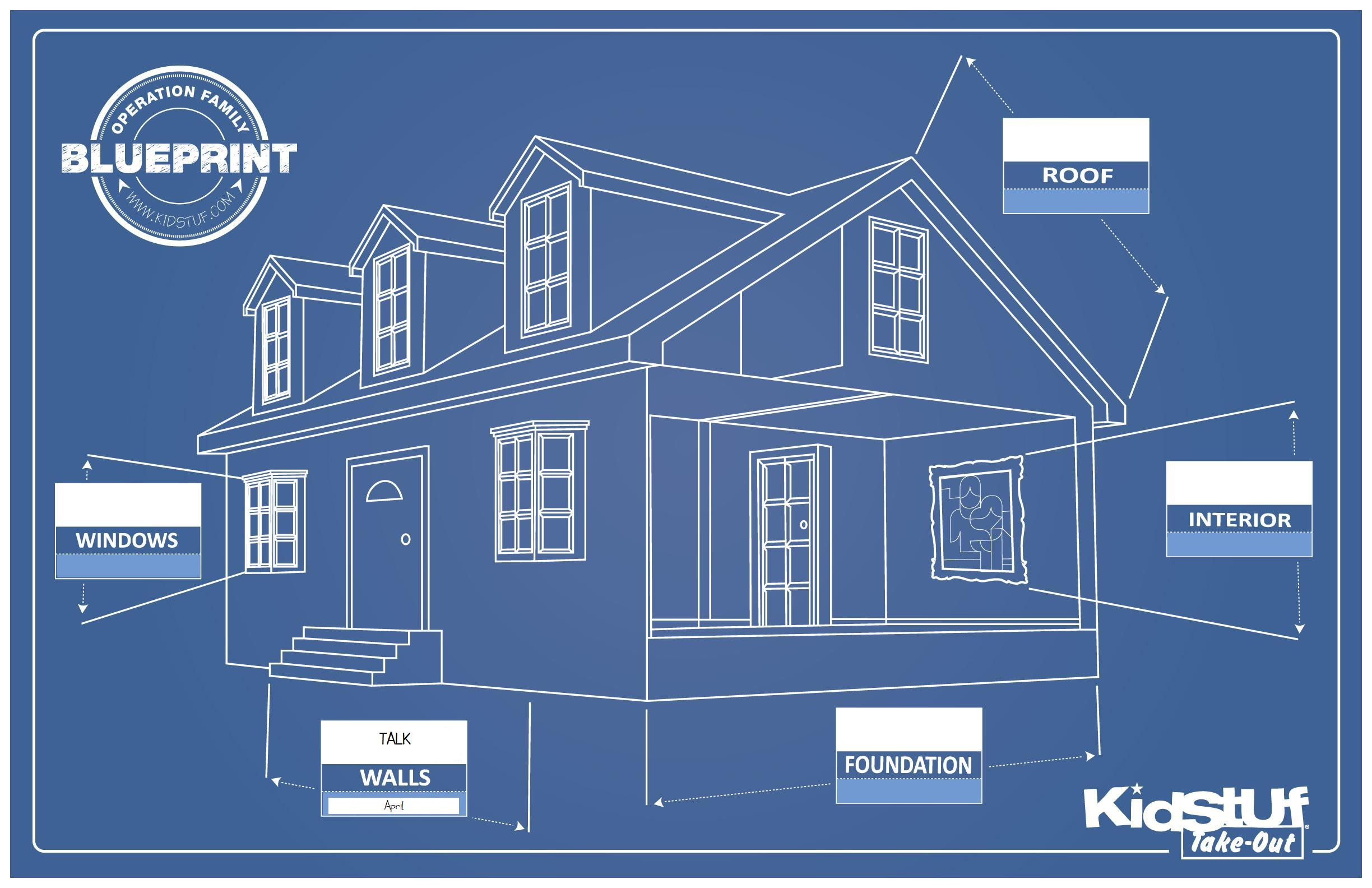 Picture House With Blue Prints For Kids